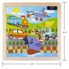 IPLAY - casse-tête en bois - Véhicules - 8.75 x 8.75 (22.22 x 22.22 cm)