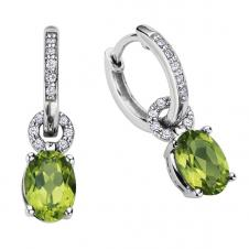 7mm Peridot Drop Earrings in 10K White Gold with Diamond Accents (0.12 CT.