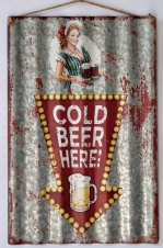 TIMBER - TIN SIGN, COLD BEER HERE, CORRUGATED, 40X59CM