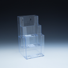 WallMount/Countertop Brochure Holder up to 4-3/8 Width - clip style - 1 pocket -  4,5 W x 9 H x 5,4375 D  - Clear