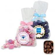 Large Gusset Stand Up Bag w/ Bow Filled with Milk Chocolate Raisins
