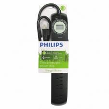 Barre d'alimentation - Philips - SPS6060A - 6 prises - Avec minuterie - Noir