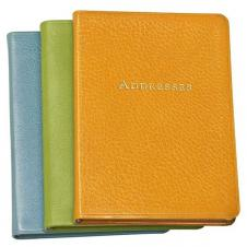 Pocket Address Book W/ Premium Brights Leather Cover (5 3/8x7 3/8)