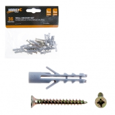 HARVEY TOOLS - 5MM*18PC WALL PLUGS & 2.5 X 25MM*18PC SCREWS
