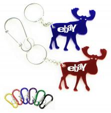 Elk Shape Bottle Opener with Key Chain & Carabiner