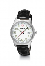 Large Swiss Field Classic White Dial Watch with Black Leather Strap