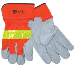 Hi-Viz Leather Gloves w/Safety Cuffs