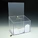 Boîte concours/vote - verrouillable - avec en-tête - 11,5 W x 18 H x 8,5 D - Claire