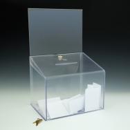 Ballot Box - Locking - With Header Card - 11,5 W x 18 H x 8,5 D  - Clear