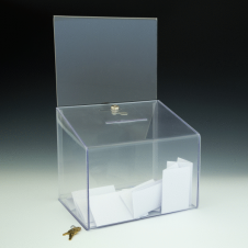 Ballot Box - Locking - With Header Card - 11,5 W x 18 H x 8,5 D  - Clear
