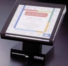 Custom Lucite Award w/ Black Back and Pedestal Base