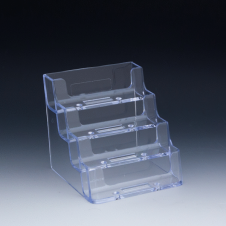 Business cards holder - 3-7/8 W x 3-3/4 H x 3-3/4 D - Clear durable acrylic - Four pockets