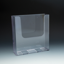 WallMount Brochure Holder up to 8-1/2 Width - extra capacity - 1 pockets -  9,3125 W x 9,8125 H x 2,875 D - Clear