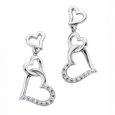 Diamond Triple Heart Drop Earrings in 10K White Gold (0.10 CT. T.W.)