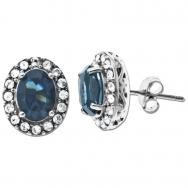 Sterling Silver Swarovski Blue and White Crystal Earrings