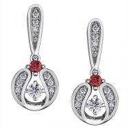 Diamond Drop Earrings in 10K White Gold with Ruby Accent (0.121 CT. T.W.)