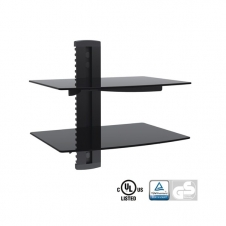 Support Audio/Video - Support murale audio/vidéo - 2 tablettes en verres - 8 kg max.