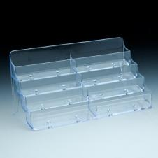 Business cards holder - 7-7/8 W x 3-7/8 H x 3-5/8 D - Clear durable acrylic - 8 pockets