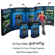 Coyote Gull-Wing - SYNC-GULL - 20' (89 x 240) - PopUp Display - Graphic Mural Panels - Front Printed + Endcaps - w. Molded Freight Case & Lights