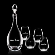 Malvern Decanter & 4 Stemless Wine