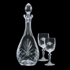 38 Oz. Cavanaugh Crystal Decanter & 2 Wine Glasses