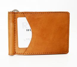 Money Clip Wallet w/ 2 Outside Pockets - British Tan