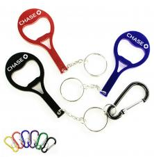 Tennis Racket Shape Aluminum Bottle Opener w/ Split Key Ring & Carabiner