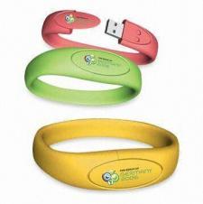Custom PVC / Silicone Oval Inset Bracelet USB Flash Drive