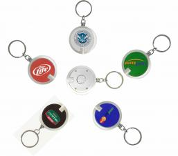 Deluxe Coaster Shape Round Flashlight w/ Super Bright LED & Swivel Key Chain