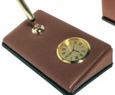 Executive Leather Pen Holder & Clock