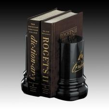 Genuine Black Marble Hazelton Bookend (Set of 2)
