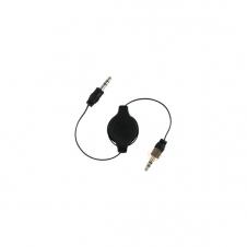 Câble Audio - 1/8 (3.5 mm) Mâle Stéréo / 1/8 (3.5 mm) Mâle Stéréo - Retractable - Noir - 75 cm
