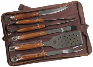 5 Piece Wood Handle BBQ Set in Zippered Nylon Case (Direct Import 10 Weeks)