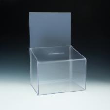 Boîte concours/vote - inclinée - avec en-tête - 11,5 W x 9,5 H x 8,5 D - Claire