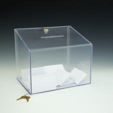 Boîte concours/vote - verrouillable - 11,5 W x 9,5 H x 8,5 D - Claire
