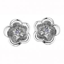 10K White Gold Flower Stud Earrings with Diamonds (0.02 CT. T.W.)