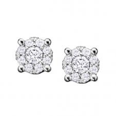 Diamond Framed Stud Earrings in 10K White Gold (0.08 CT. T.W.)