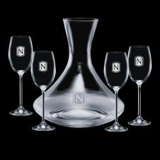 32 Oz. Crystal Senderwood Carafe with 4 Wine Glasses