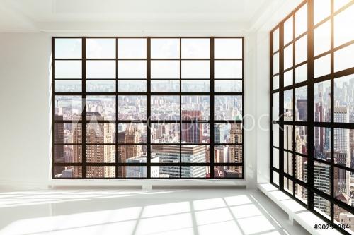 empty white loft interior