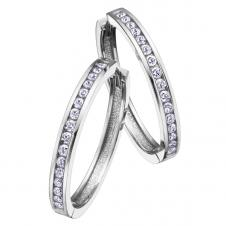 Diamond Hoop Earrings in 10K White Gold (0.25 CT. T.W.)