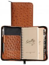 Ostrich Leather 3 Way Zipper Pocket Weekly Planner w/ Telephone Address Book