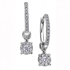 Diamond Cluster Drop Earrings in 9K White Gold (0.38 CT. T.W.)