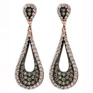 Chocolate and White Diamond Drop Earrings in 10K Rose Gold (0.50 CT. T.W.)