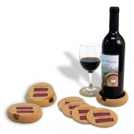 6 Piece Set of Natural Cork Coasters w/ Wine Bottle Holder