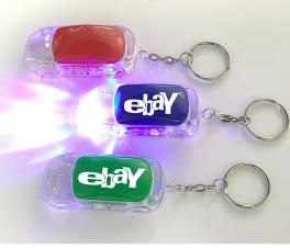 Car Shape LED Flashlight Key Chain with On/ Off Switch