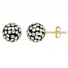 10kt Yellow Gold 7.8mm Black & White Crystal Ball Earrings.