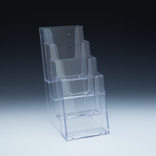 Tri-fold Counter Brochure Holder - 4 pockets - 4,5 W x 9,875 H x 7 D - Clear