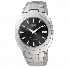 Gent's Titanium Citizen Eco Drive Watch w/ Black Dial