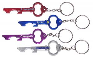 Key Shaped Aluminum Bottle Opener w/ Key Chain