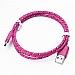 Cellulaire cable - Fil USB type C - Style corde tressée - 3' - Rose foncé